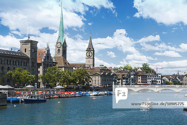 Switzerland  Zurich  View to Limmat river Fraumuenster Church and St. Peter's Church