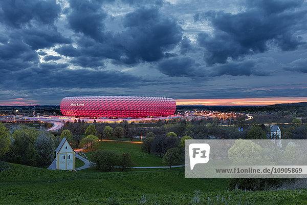 Germany  Bavaria  Munich  Allianz Arena stadium at twilight