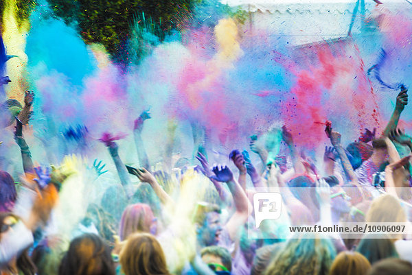 Spain  crowd celebrating Holi Festival