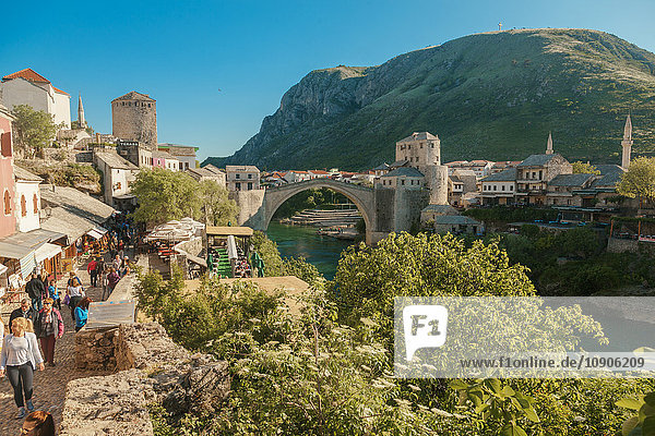 Bosnia and Herzegovina  Mostar  Old town  Stari most bridge