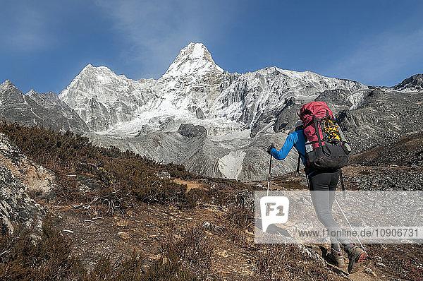 Nepal  Himalaya  Solo Khumbu  mountaineer at Ama Dablam South West Ridge