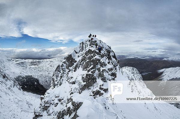 Schottland  Glencoe  Beinn a'Bheithir  Bergsteigen im Winter