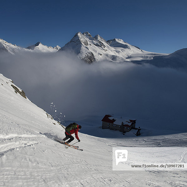 Italien  Adamello  Rifugio Mandrone  Cima Presanella  Skifahrer
