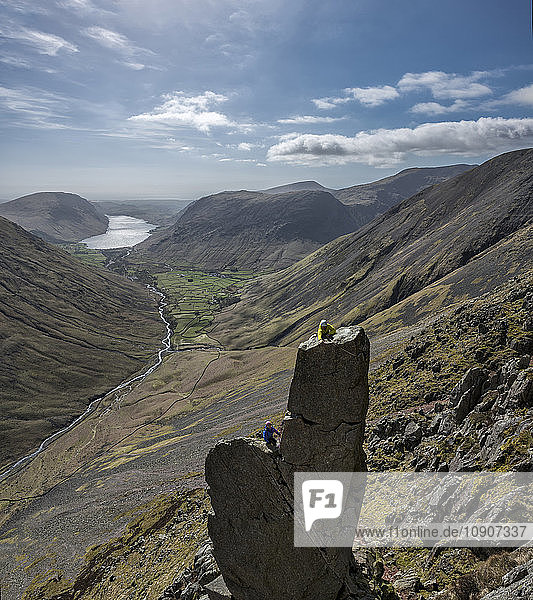 England  Cumbria  Lake District  Wasdale Valley  Wastwater  Great Gable  Napes Needle  climbers