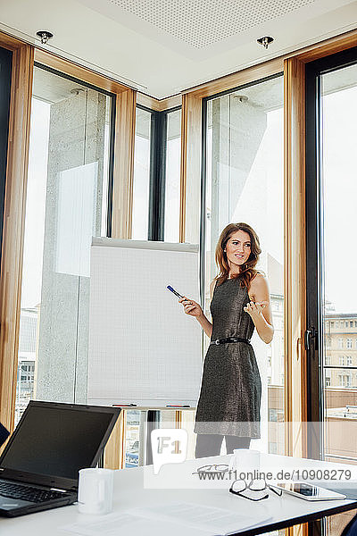 Businesswoman leading a presentation at flip chart