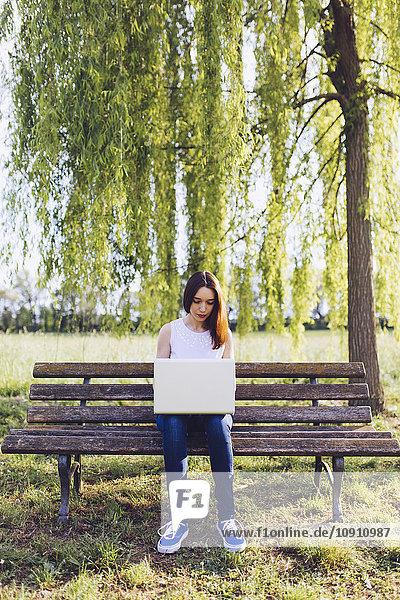 Frau lernt am Laptop  während sie auf einer Bank im Park sitzt.