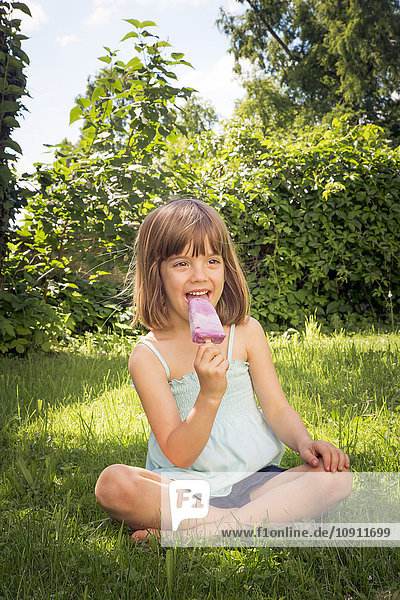 Portrait of happy little girl sitting on a meadow eating blueberry ice lolly