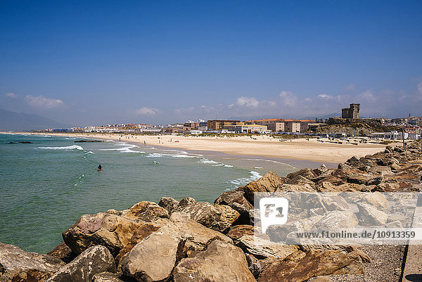 Spain  Andalusia  Tarifa  Beach of Los Lances  with the castle of Santa Catalina and the city in background