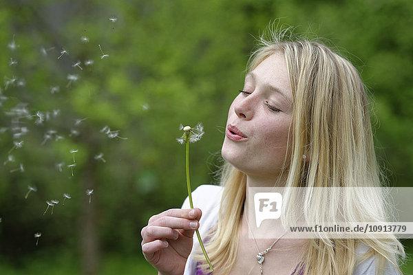 Porträt einer blonden jungen Frau  die Pusteblume bläst.