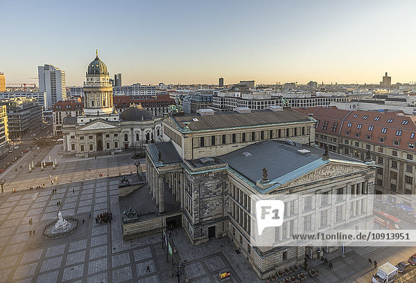 Germany  Berlin  view to Gendarmenmarkt from above in the evening