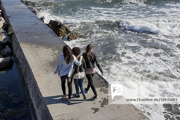 Drei junge Frauen auf dem Wellenbrecher am Meer  Rückansicht