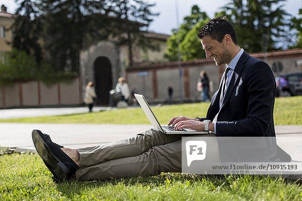 Geschäftsmann auf der Wiese sitzend mit Laptop