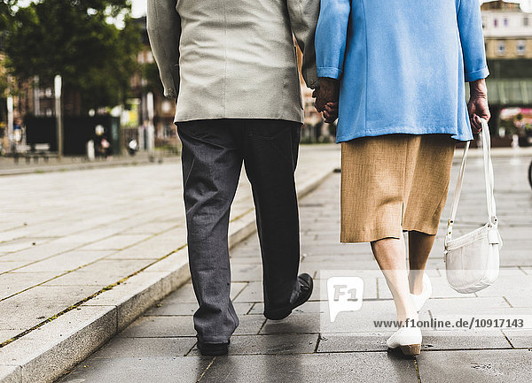 Rückansicht des gehenden Seniorenpaares mit den Händen