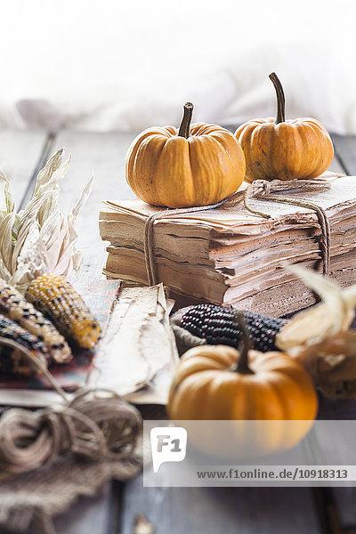 Herbstliche Dekoration mit Kürbissen und Maiskolben