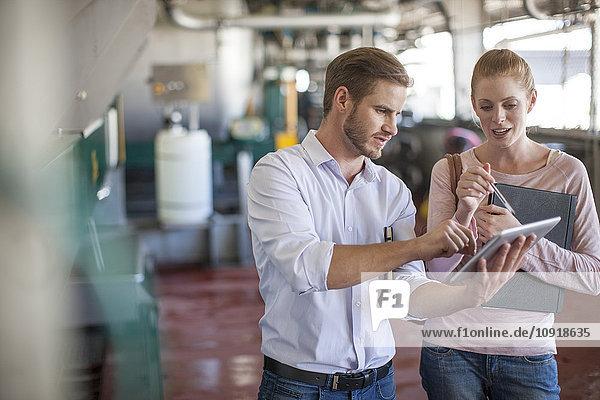 Geschäftsmann und -frau diskutieren über die Arbeit mit dem digitalen Tablett