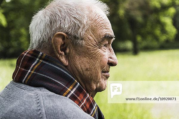 Profil des älteren Mannes in der Natur