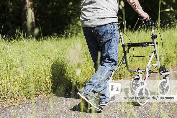 Rückansicht eines älteren Mannes  der mit einem Rollator in der Natur spazieren geht.