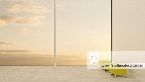 Hocker am Fenster bei Sonnenuntergang  3D-Rendering