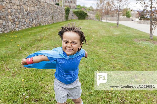 Kleiner großer Held posiert auf der Wiese Kleiner großer Held posiert auf der Wiese