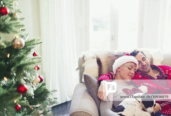 Heiteres Paar kuschelt mit Hund auf Sofa neben dem Weihnachtsbaum