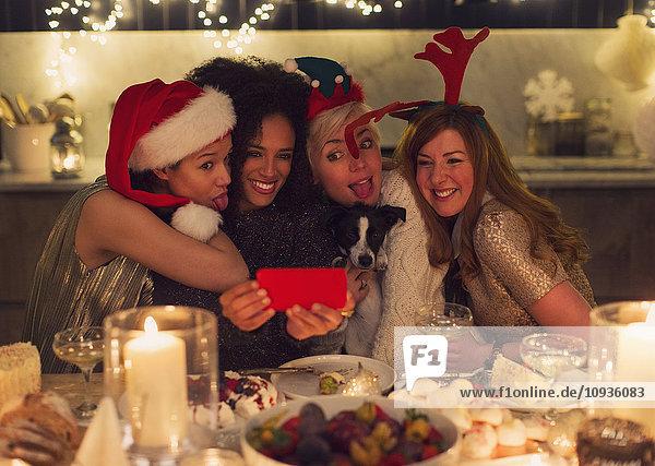 Verspielte junge Frauen mit Hund beim Weihnachtsessen