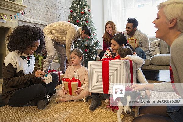 Freunde und Familie eröffnen Weihnachtsgeschenke im Wohnzimmer