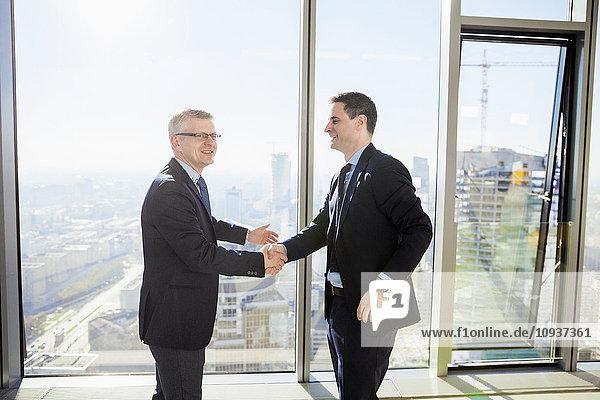 Two businessmen shaking hands in modern office