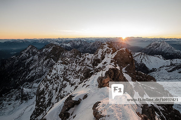 Panoramic view of European Alps with sunrise