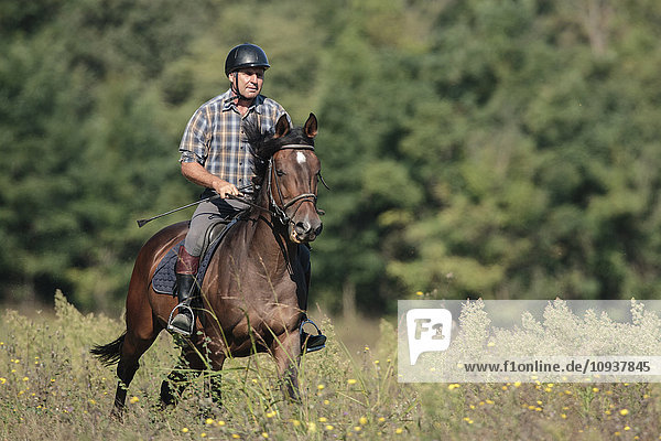 Senior man horseback riding in field