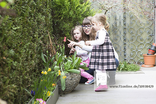 Mother and daughters looking at flowers in garden