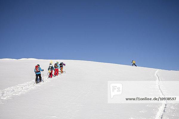 Group of skitourers walking in Sexten Dolomites