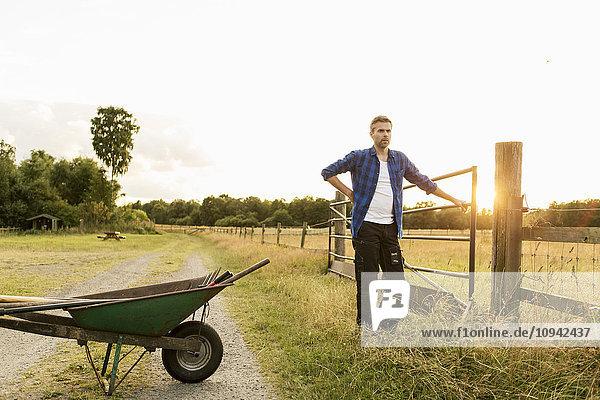 Bauer am Zaun stehend mit Schubkarre auf Grasfeld bei Sonnenschein