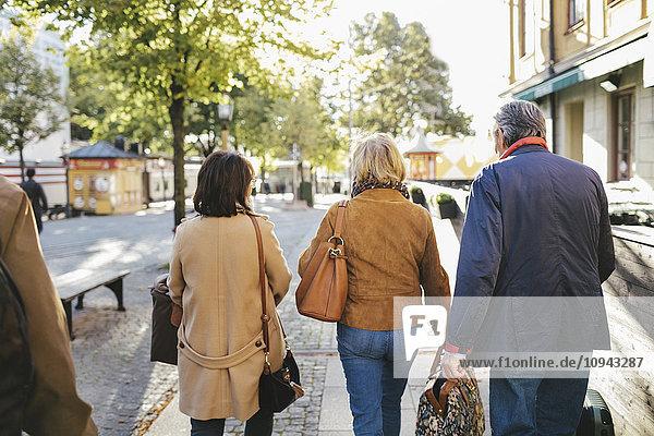 Rückansicht von männlichen und weiblichen Senioren  die mit Gepäck auf dem Bürgersteig gehen.