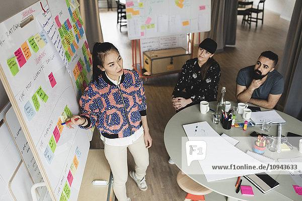 Hochwinkelansicht der Geschäftsfrau erklärt Mitarbeiter im Kreativbüro