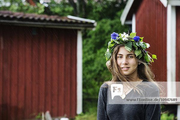Woman wearing flower wreath