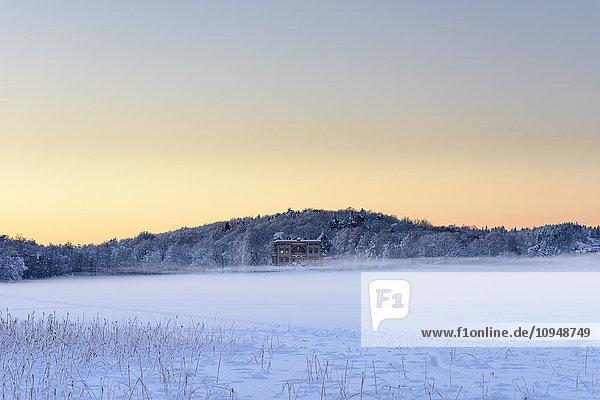Winter landscape at dusk