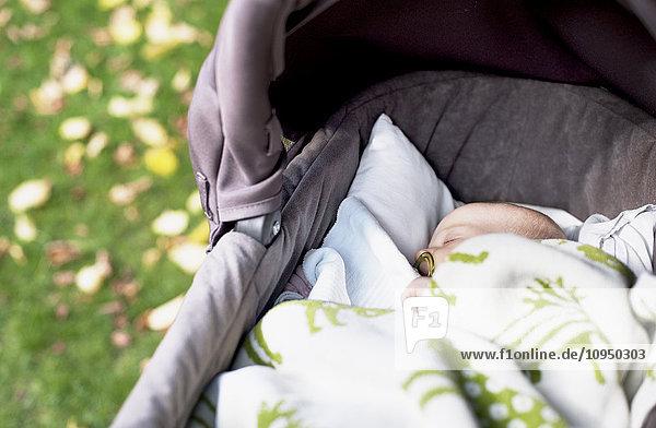 Baby sleeping in pram Baby sleeping in pram