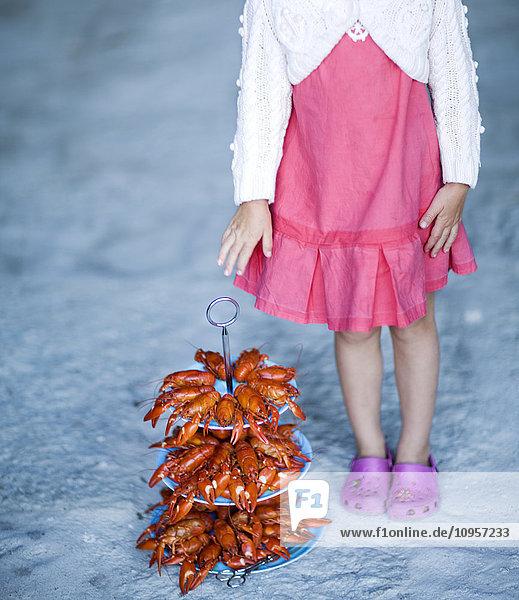 Girl and crayfish  Sweden. Girl and crayfish, Sweden.