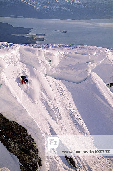Off-piste skiing  Norway.