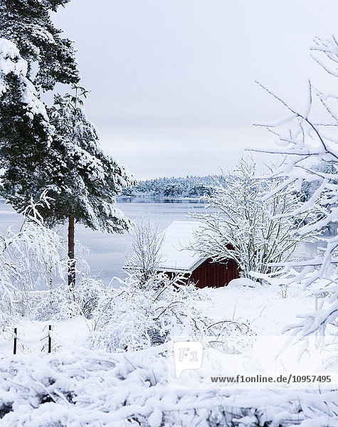 A cottage by a river in the winter  Sweden.