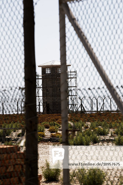 Prison behind barbed wire,  South Africa.