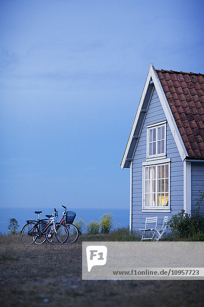 Bicycles by a house  Sweden.