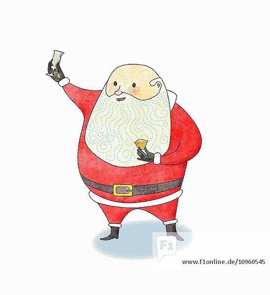 Lächelnder Weihnachtsmann erhebt sein Sherryglas und hält ein Mince Pie