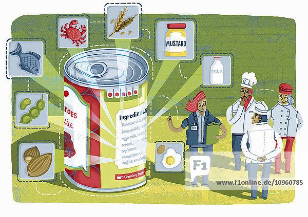 Chef und Team von Nahrungsmittelverarbeitern analysieren das Etikett einer Konservendose