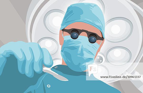 Froschperspektive eines Chirurgen mit binokularer Lupe und Skalpell