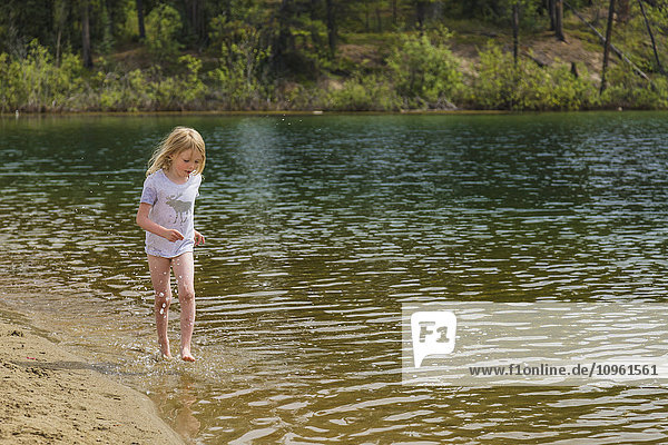 A young girl plays in the water along a sandy beach  Lucky Lake  Yukon Territory  Canada  Summer