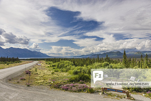 A scenic turnout and highway sign along the Alaska Highway  Kluane Lake  Northern Yukon Territory  Canada  Summer