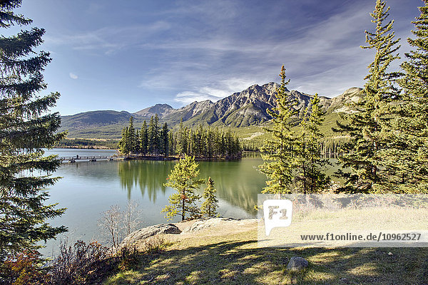 'Pyramid Lake is kidney-shaped lake in Jasper National Park lying at the foot of Pyramid Mountain; Alberta  Canada'