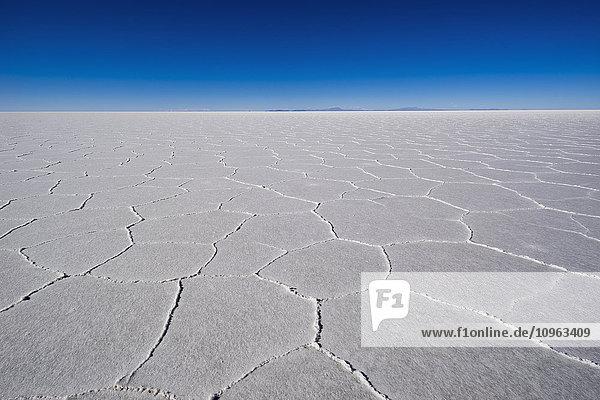 'Hexagon patterns on the salt flats of Salar de Uyuni; Bolivia'