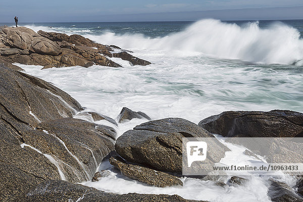 'Person taking photos of large waves along the South coast of South Africa in Namakwaland National Park; South Africa'